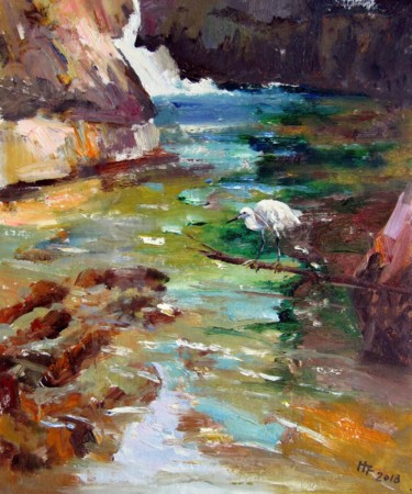 """Painting titled """"Brook #007"""" by Lermay Chiang, Original Art, Oil Mounted on Stretcher frame"""