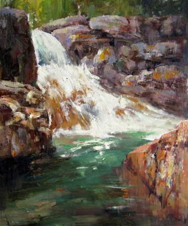 """Painting titled """"Brook #008"""" by Lermay Chiang, Original Art, Oil Mounted on Stretcher frame"""