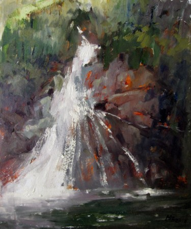"""Painting titled """"Brook #009"""" by Lermay Chiang, Original Art, Oil Mounted on Stretcher frame"""