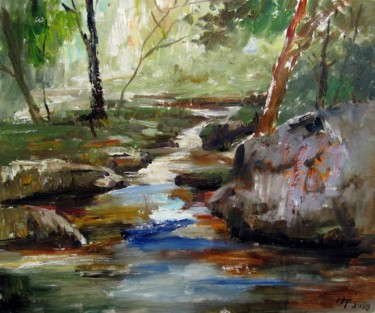 """Painting titled """"Brook #010"""" by Lermay Chiang, Original Art, Oil Mounted on Stretcher frame"""
