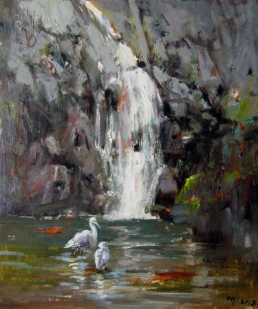 """Painting titled """"Brook #011"""" by Lermay Chiang, Original Art, Oil Mounted on Stretcher frame"""