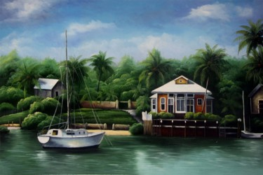 """Painting titled """"Yacht #009"""" by Lermay Chiang, Original Art, Oil Mounted on Stretcher frame"""