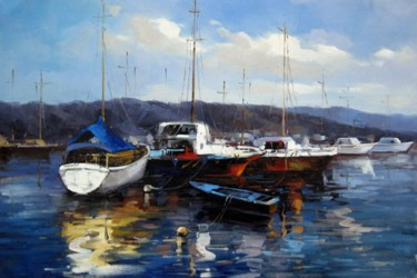 """Painting titled """"Yacht #021D"""" by Lermay Chiang, Original Art, Oil Mounted on Stretcher frame"""