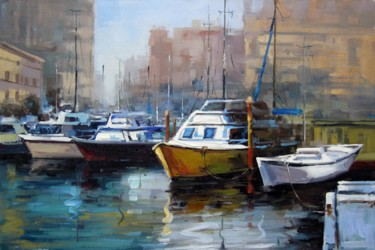 """Painting titled """"Yacht #026D"""" by Lermay Chiang, Original Art, Oil Mounted on Stretcher frame"""