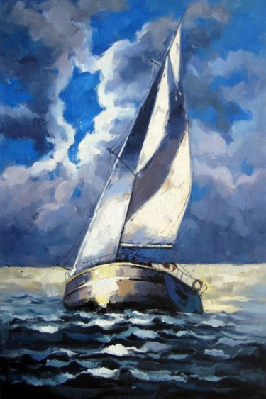 """Painting titled """"Yacht #028D"""" by Lermay Chiang, Original Art, Oil Mounted on Stretcher frame"""