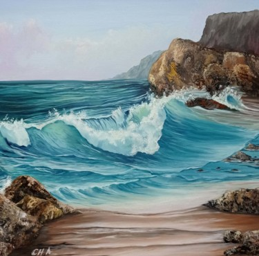 """Painting titled """"Entre rocas"""" by María Rosario Aladro Loza, Original Art, Oil Mounted on Wood Panel"""