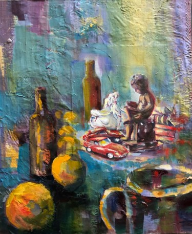 """Painting titled """"DIVERS"""" by Charles Tapiero, Original Art, Oil"""