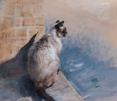 Cat Drawing, gouache, impressionism, artwork by Charles Dubus