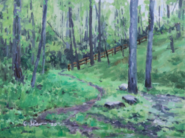 """Painting titled """"Hiking Trail"""" by Charles Jiao, Original Art, Oil"""
