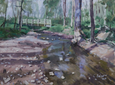 """Painting titled """"Little Creek"""" by Charles Jiao, Original Art, Oil"""