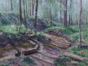 """Painting titled """"Aullwood Garden Park"""" by Charles Jiao, Original Art, Oil"""