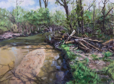 """Painting titled """"Creek in Siebenthal…"""" by Charles Jiao, Original Art, Oil"""
