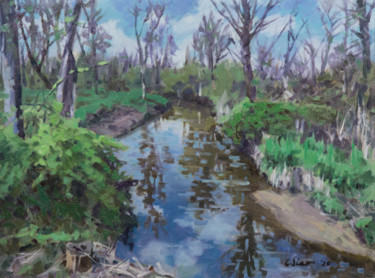 """Painting titled """"Creek in Spring"""" by Charles Jiao, Original Art, Oil"""
