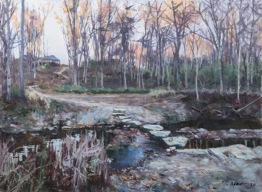 """Painting titled """"Little Creek at Dusk"""" by Charles Jiao, Original Art, Oil"""