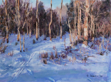 """Painting titled """"Snow Trail"""" by Charles Jiao, Original Art, Oil"""