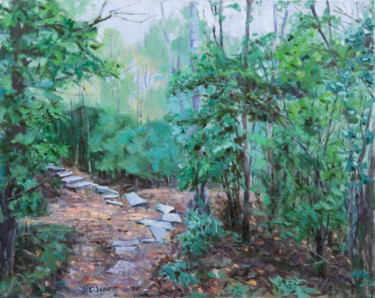 """Painting titled """"Rock Block Path"""" by Charles Jiao, Original Art, Oil"""