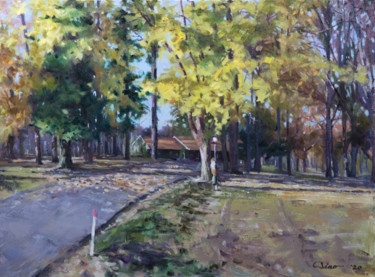 """Painting titled """"Into the Fall"""" by Charles Jiao, Original Art, Oil"""