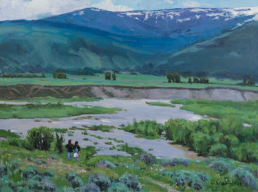 """Painting titled """"Yellowstone River"""" by Charles Jiao, Original Art, Oil"""