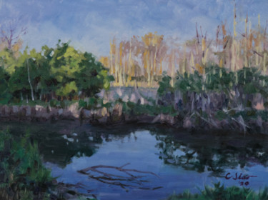 """Painting titled """"Dusk in Siebenthale…"""" by Charles Jiao, Original Art, Oil"""
