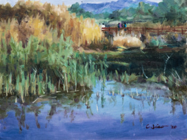 """Painting titled """"Lakeside"""" by Charles Jiao, Original Art, Oil"""