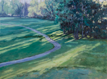 """Painting titled """"Golf Course Trail"""" by Charles Jiao, Original Art, Oil"""