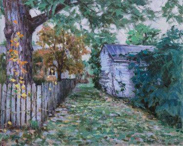 """Painting titled """"Backyard #3"""" by Charles Jiao, Original Art, Oil"""