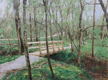 """Painting titled """"New Bridge in Spring"""" by Charles Jiao, Original Art, Oil"""