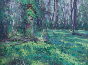 """Painting titled """"Suddenly Green"""" by Charles Jiao, Original Art, Oil"""
