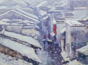 """Painting titled """"Spring Festival in…"""" by Charles Jiao, Original Art, Oil"""