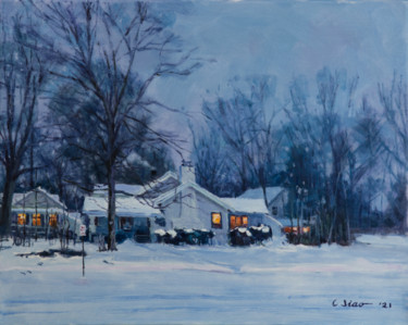 """Painting titled """"Snowy Evening"""" by Charles Jiao, Original Art, Oil"""