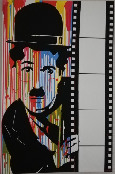 """Painting titled """"Charlie Chaplin"""" by Charlotte Devillers, Original Art, Acrylic"""
