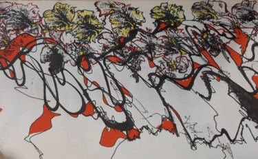 """Drawing titled """"Flowers sketches"""" by Marika Charmon Rahal, Original Art, Ink"""