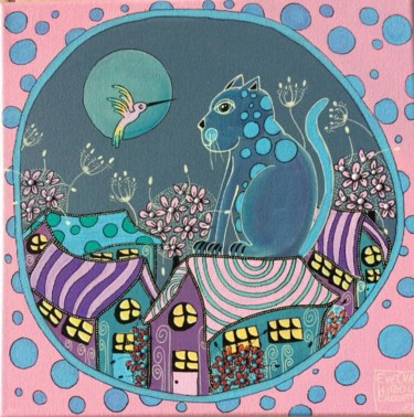 """Painting titled """"Chat Pois sur le to…"""" by Chathibouchouette, Original Art, Acrylic"""