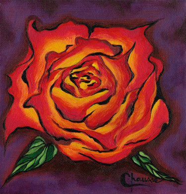 """Painting titled """"Orange Rose on a Pu…"""" by Genevieve Chausse, Original Art, Acrylic"""