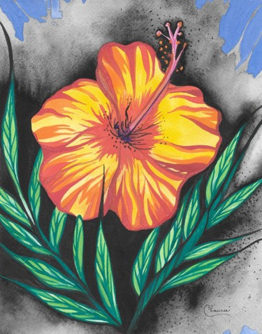 """Painting titled """"Exotic Flower"""" by Genevieve Chausse, Original Art, Watercolor"""