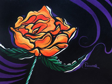 """Painting titled """"Orange Rose on a bl…"""" by Genevieve Chausse, Original Art, Acrylic"""