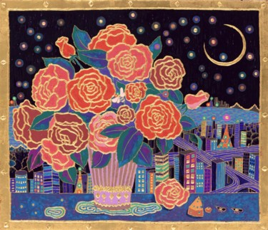 """Painting titled """"TOKYO CELEBRITY"""" by Chiori Ohnaka, Original Art, Pigments"""