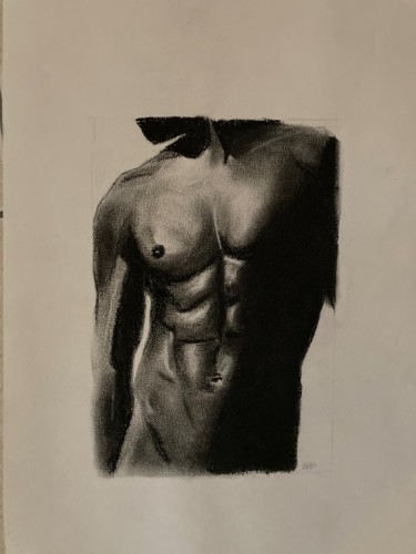 Masculine Drawing, charcoal, artwork by Christophe Trogno
