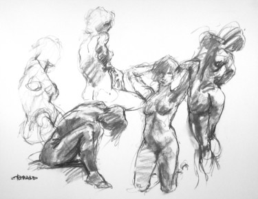 """Drawing titled """"fusain 50/65 2008 14"""" by Christian Rolland, Original Art, Charcoal"""