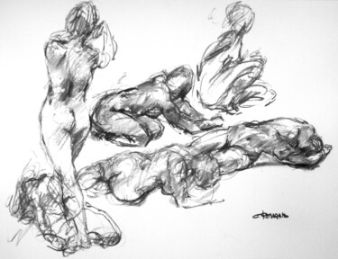 """Drawing titled """"fusain 50/65 2008 29"""" by Christian Rolland, Original Art, Charcoal"""