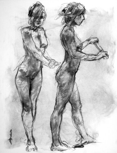 """Drawing titled """"fusain 50/65 2008 40"""" by Christian Rolland, Original Art, Charcoal"""