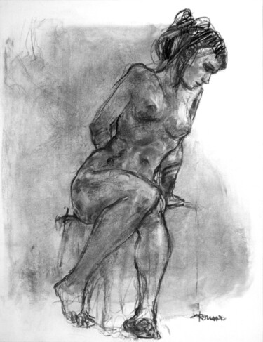 """Drawing titled """"fusain 50/65 2008 41"""" by Christian Rolland, Original Art, Charcoal"""