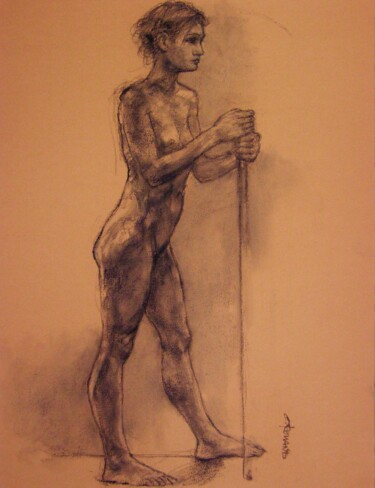 """Drawing titled """"fusain 50/65 2008 43"""" by Christian Rolland, Original Art, Charcoal"""
