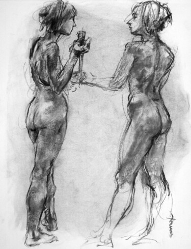 """Drawing titled """"fusain 50/65 2008 44"""" by Christian Rolland, Original Art, Charcoal"""