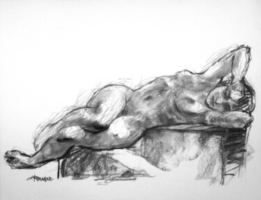 """Drawing titled """"fusain 50/65 2008 45"""" by Christian Rolland, Original Art, Charcoal"""