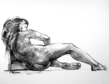 """Drawing titled """"fusain & craie 50/6…"""" by Christian Rolland, Original Art, Charcoal"""