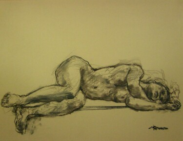 """Drawing titled """"fusain 50/65 2008 51"""" by Christian Rolland, Original Art, Charcoal"""