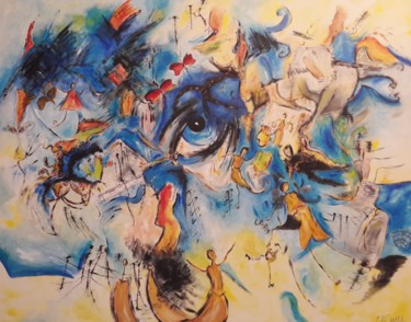 """Painting titled """"BLUE STORY"""" by Christiane Guerry (C.B.GUERRY), Original Art, Acrylic"""