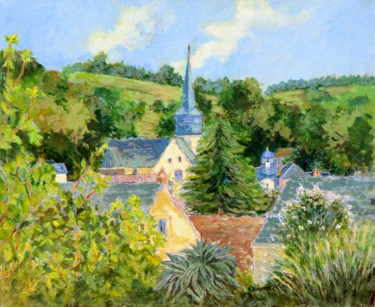 """Painting titled """"RY  VILLAGE NORMAND"""" by Kulhaneck, Original Art, Oil"""