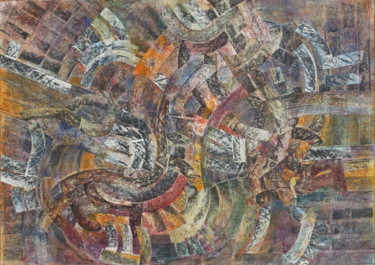 """Collages titled """"Coubre 1"""" by Christiane Seguin, Original Art, Acrylic"""